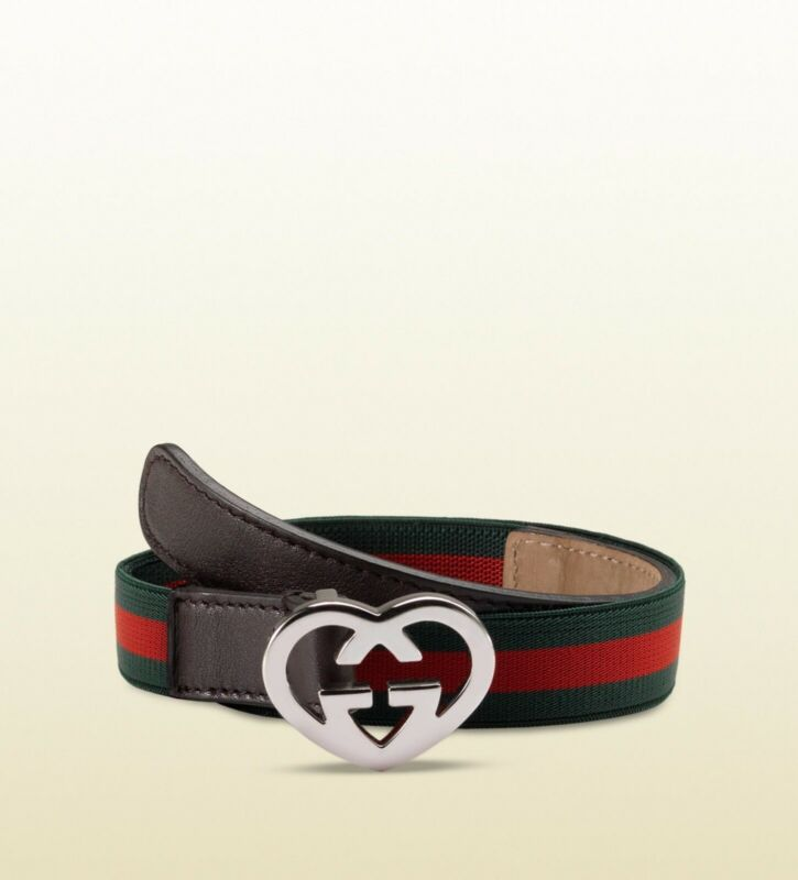 NWT NEW Gucci girls blue red web belt heart buckle S M 271478