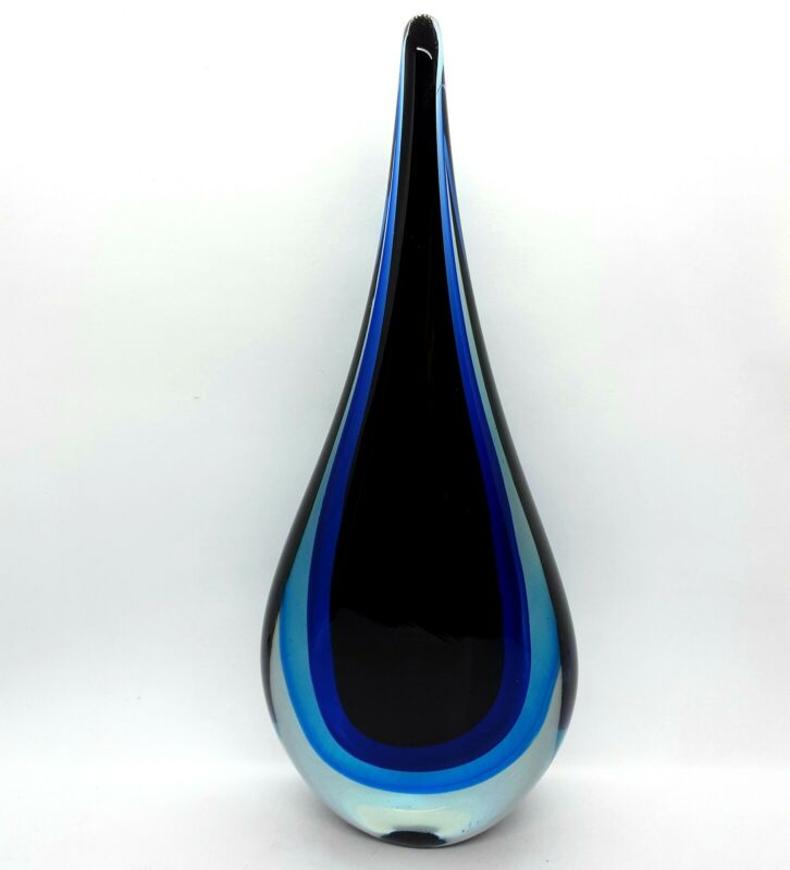 "Elegant Teardrop Art Glass Sommerso Black, Cobalt Blue Aqua & Clear 11-3/8"" Tall"