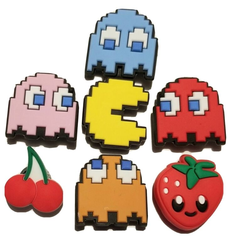 Pac Man & Ghosts Shoe Charms! 7 Diff PCS! For Clogs, Crocs, Bracelets, Crafts &