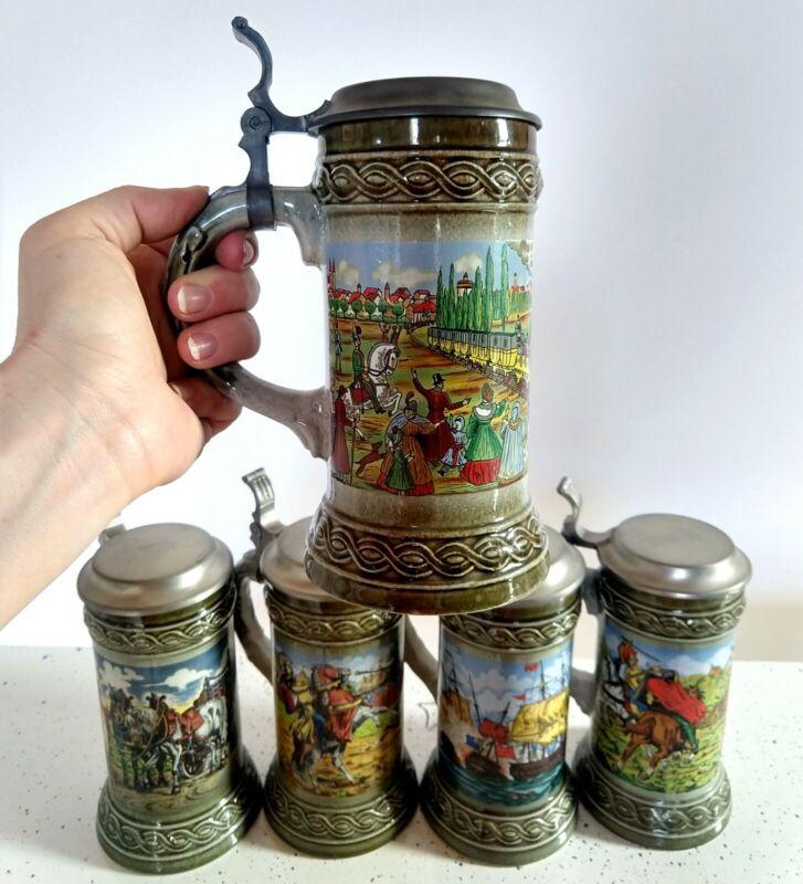 Staffel Stoneware & Gerzit West Germany Lidded Stein Lot Vtg Germain 5 Mug Set