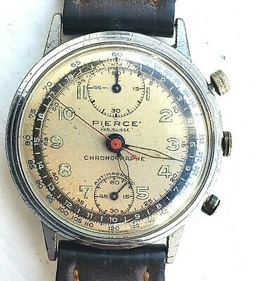 1940s Pierce Chronograph Swiss Watch - Needs Service