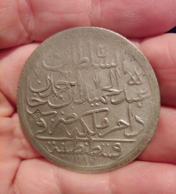 Ancient Silver Coin Ottoman Empire Abdul Hamid 2 Zolota 1774AD Huge Coin!!
