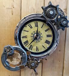 Steampunk Wall Clock- Gears -World Map- Compass Rose- Industrial- Handmade