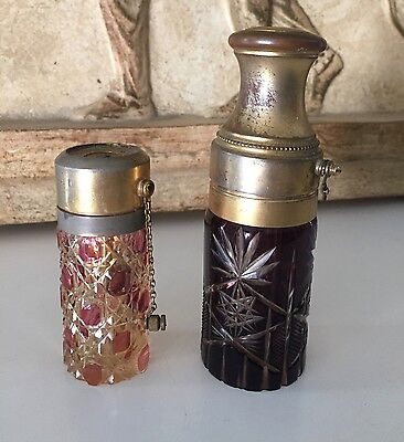 Two Antique Cut Glass Perfume Atomizer Bottles. Amethyst and Ruby Cut Glass