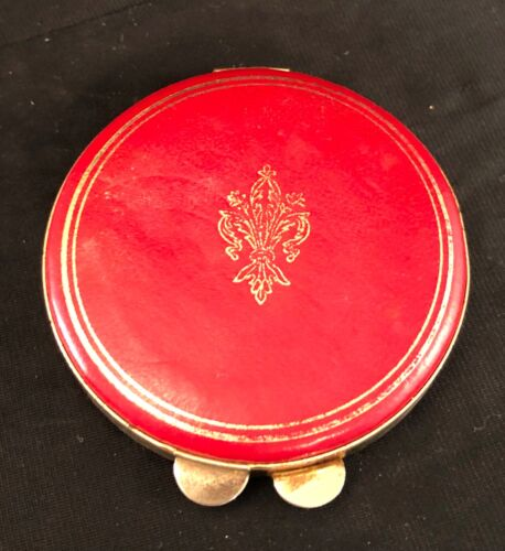 Red Leather Compact Vintage