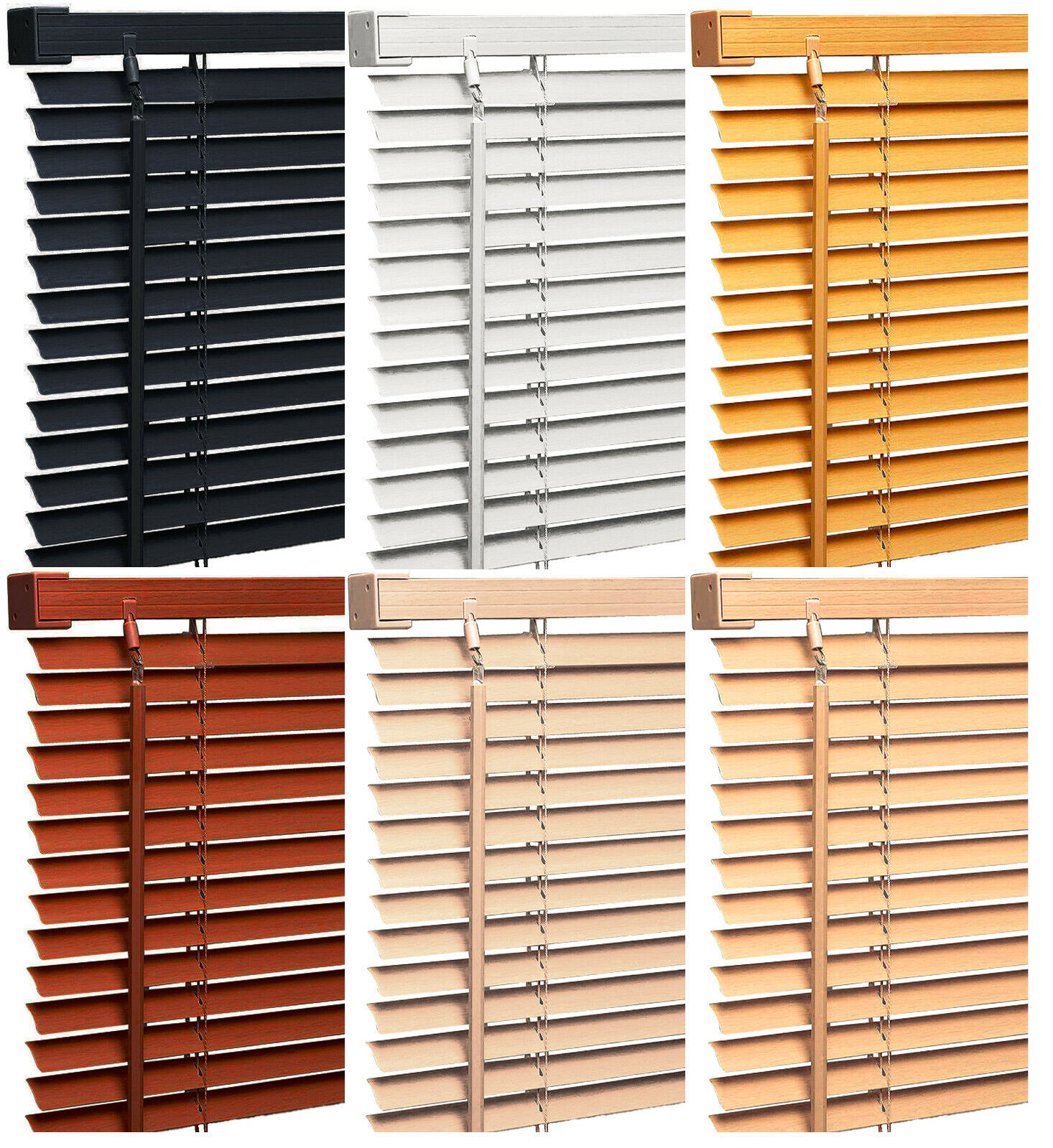 Faux Wood Wooden Venetian Blinds Blind Home Office Window Blind Shade Multi-Size