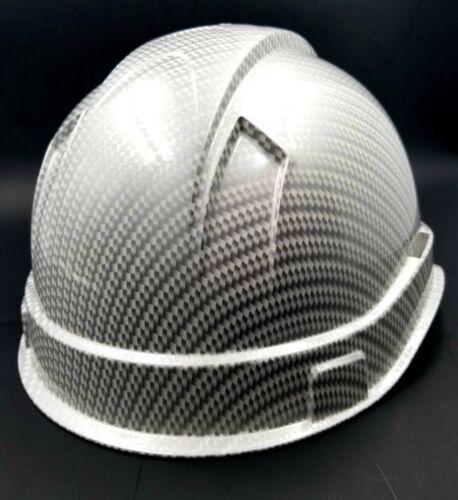 Hard Hat custom hydro dipped , OSHA approved WHITE METALLIC CARBON FIBER NEW 3