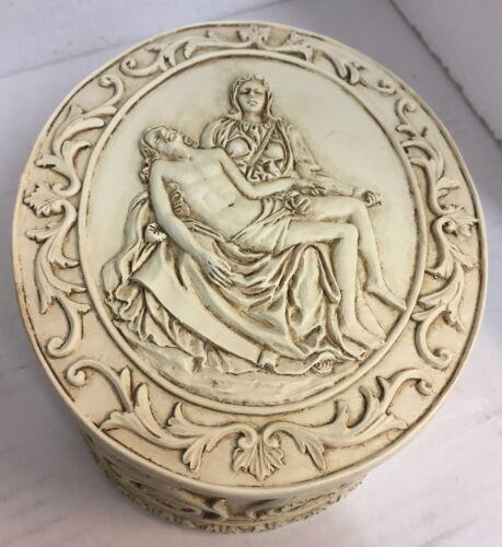 La Pieta Mother Mary Lord Jesus Catholic Jewelry Trinket Keepsake Box Figurine