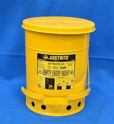 Justrite Floor Oily Waste Can 6 Gal. Galvanized Steel Foot Operated 09101