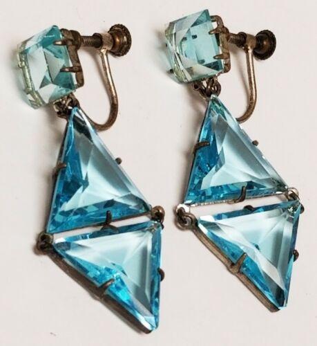 Long Vintage CZECH Deco Blue Trillion Faceted Glass Crystal Dangle SB Earrings