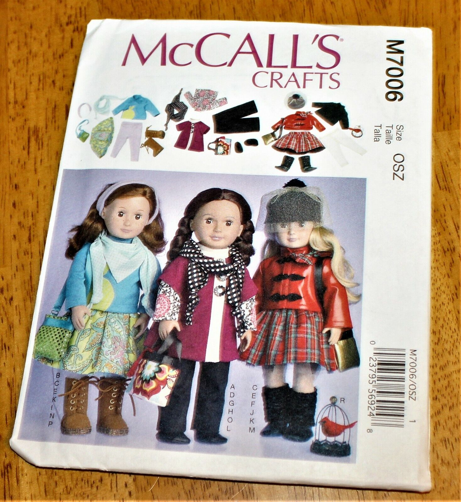 McCALL S PATTERN 7006 DOLL CLOTHES FOR 18 INCH DOLLS - 3 OUTFITS - UNCUT - $4.59