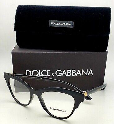New DOLCE&GABBANA Rx-able Eyeglasses DG 3313 501 52-17 Black&Gold Cat Eye (Dolce And Gabbana Eye Frames)