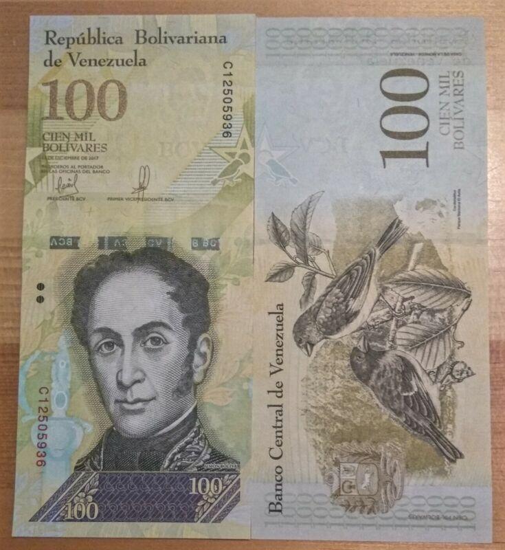 5 x Venezuela 100000 Bolivares, 2017, P-100, aUNC banknotes / currency