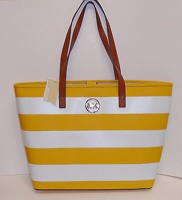 MICHAEL KORS JET SET TRAVEL STRIPE YELLOW SUN+WHITE SAFFIANO LEATHER MD TOTE,BAG