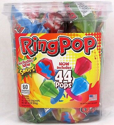 Ring Pops Bulk (Ring Pops 44 Count Tub Hard Candy Suckers Pop Lollipops Bulk Topps Candies)