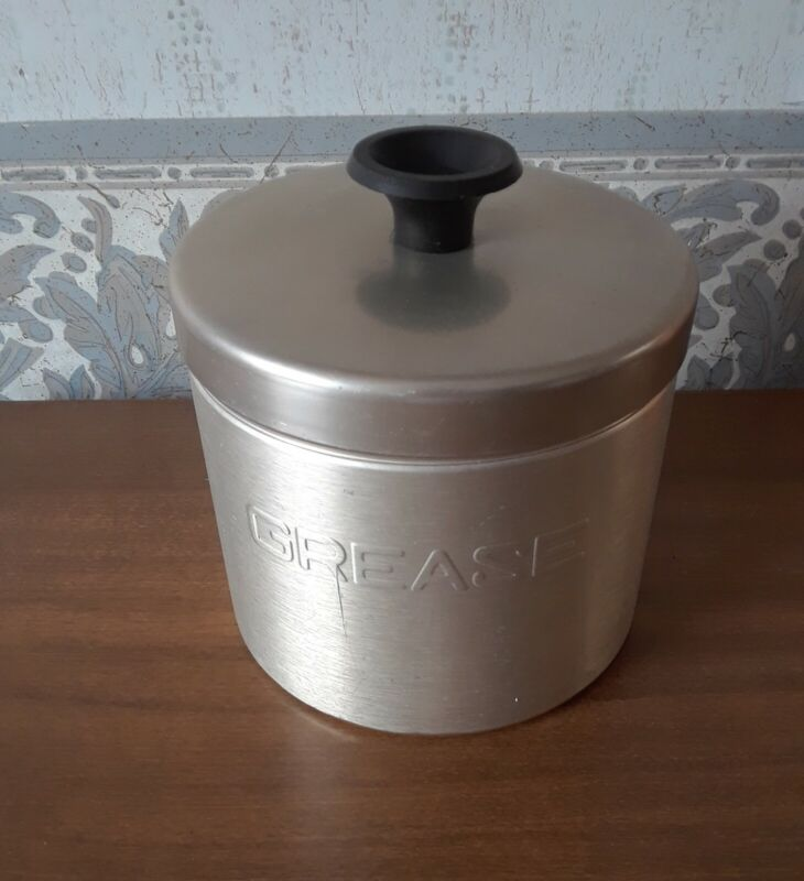 Vintage, Mid Century Aluminum Grease Canister with Strainer, Made In U.S.A.