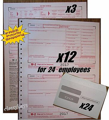 2017 Irs Tax Forms Kit   W 2 Wages Carbonless For 24 Employees   Envelopes   W 3