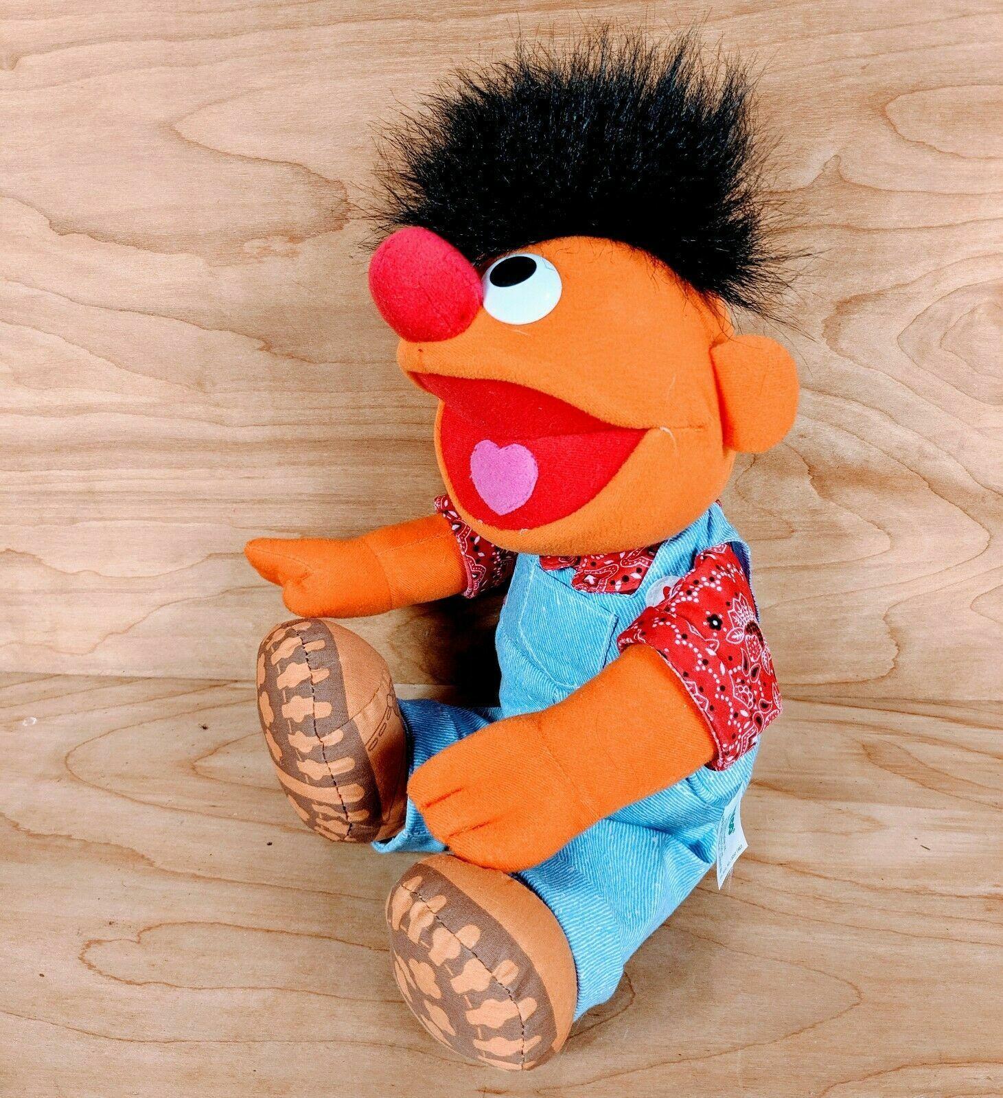 Vintage Tyco 1996 Sesame Street TALKING Farmer Ernie Plush 14 Doll RARE - $45.99