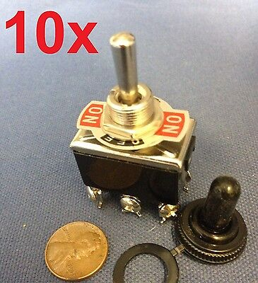 10 Pieces - Black Waterproof Boot Cap Dpdt Momentary Toggle Switch 10x Onoffon