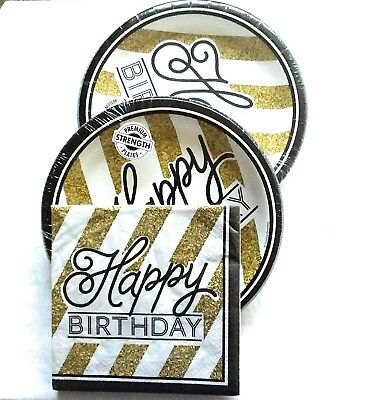 Black and Gold Happy Birthday Party Bundle with Paper Plates and Napkins for 16 - Black And Gold Napkins