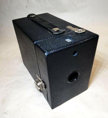 Eastman Kodak vtg RAINBOW HAWK-EYE Box Camera Dark NAVY BLUE No 2 Model C