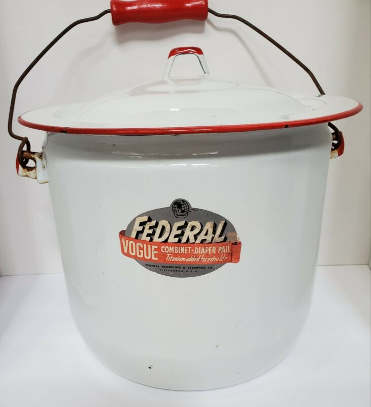 Vintage Federal Vogue Combinet Diaper Pail w/lid and original handle made in USA