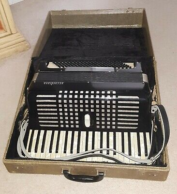VINTAGE 1950's EXCELSIOR ACCORDIANA ACCORDION & CASE 242 ITALY GOOD CONDITION