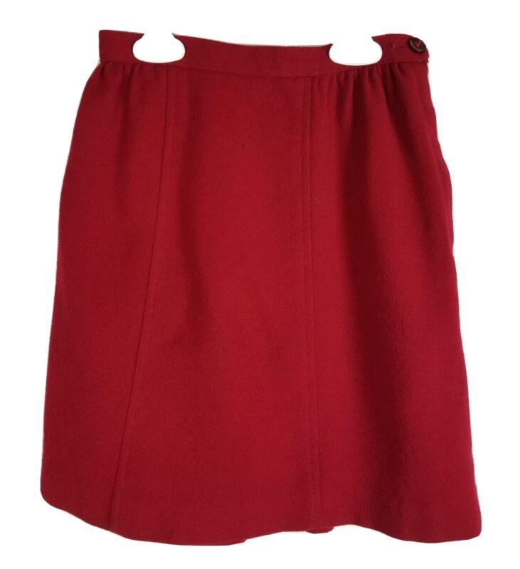 Vintage 70s 80s Sears Girls Skirt Size 8 Med Red-Wool Look-Side Zip Elastic USA