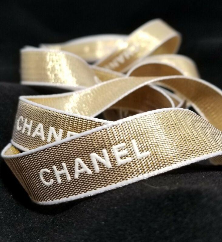 "CHANEL Gift Wrap Ribbon NEW/UNUSED Gold w/White 1 YARD/36"""