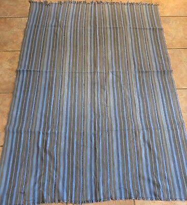 Vintage Dogon,Mali Blue, Tan Striped Fabric/Hand Woven Cotton Strips/42