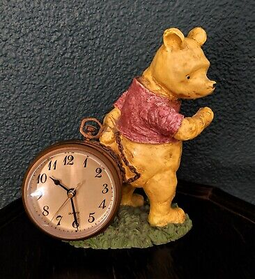 "Disney Vintage Pooh Charpente Table Clock Pocket Watch Figure Statue Classic 8"""