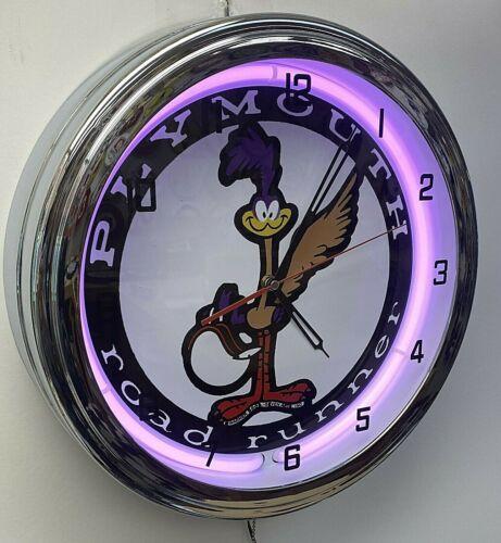 "16"" Plymouth Road Runner Sign Purple Neon Clock Mopar Roadrunner"