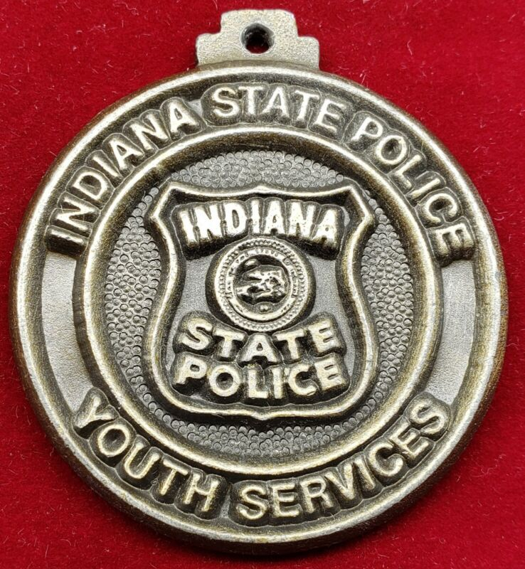 VINTAGE INDIANA POLICE YOUTH SERVICES KEY FOB EMBOSSED MEDALLION RARE METAL