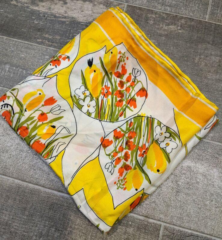 Vintage Vera Neuman Hand Rolled All Silk Scarf, Japan, Yellow Orange Daisy