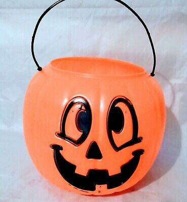 Vintage Halloween Pumpkin Plastic Blow Mold Trick or Treat Candy Pail Bucket