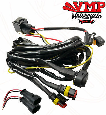 Universal Motorcycle Spot / Fog Aux Light Wiring Loom Harness Kit Relay Switch