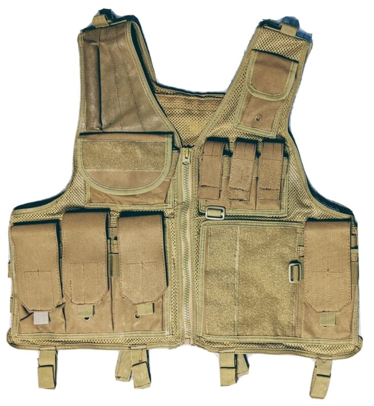Tactical Airsoft Hunting Vest Coyote Brown Mollie Pouches Adjustable