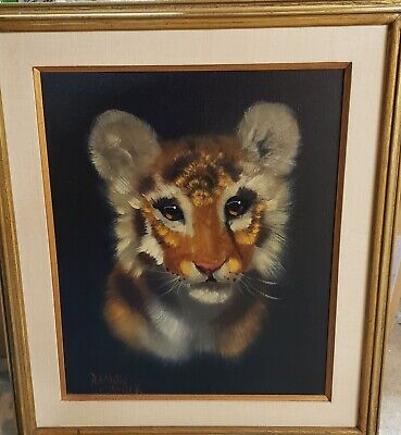 Ramon Ortega Oil Painting Framed The Cub Tiger Lion Vtg Honduras artist