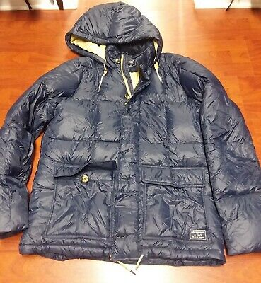 Abercrombie & Fitch Men 600 Down-Filled Puffer Jacket Coat Hooded $220 NEW XL