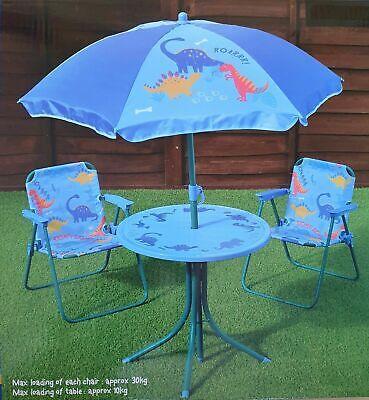 Dinosaur 4pcs Kids Garden Outdoor Table Chairs Parasol Patio Set