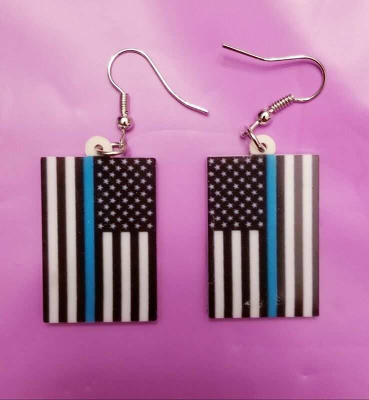 Thin blue line American flag lightweight fun earrings  jewelry FREE SHIP Police