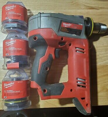 Used Milwaukee 2632-20 M18 Propex Expansion Tool With 3 Brand New Heads