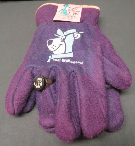 Vintage Childs Purple Yogi Bear Hanna Barbera Huckleberry Hound Gloves w/Ring