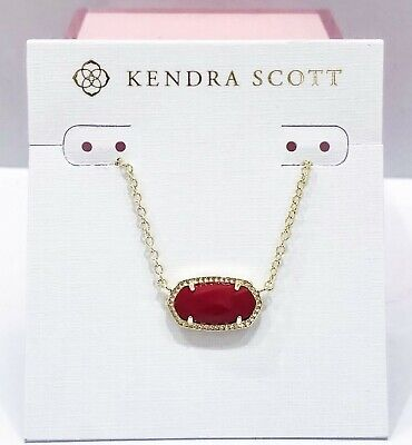 NEW AUTH KENDRA SCOTT Elisa Gold 621 Necklace Bright Red Opaque Glass Pendant Glass Red Gold Necklace