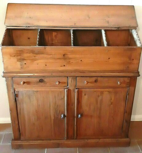 Antique American Early Pine Sideboard Cupboard Dry Storage Lift Top -  Rare!