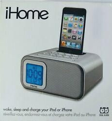 iHome Dual Alarm Clock IH22, 30 Pin iPod, iPhone Dock & Charge Station NIB