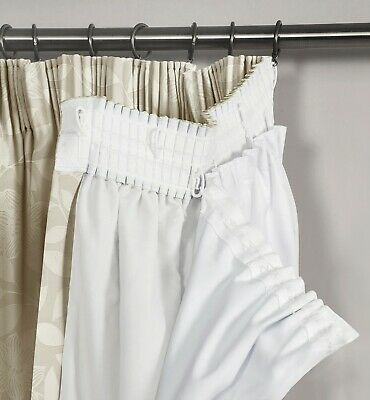 NEW PAIR OF 3 PASS THERMAL BLACKOUT WHITE CURTAIN LININGS PLEATED TAPE TOP