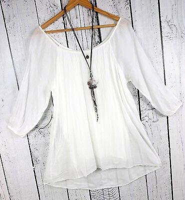 Bluse Tunika weiß doppellagig aus Baumwolle luftige leichte Bluse Gr. 40 42