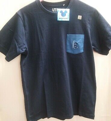 NWT UNIQLO MEN TOPS MICHEY BLUE GRAPHIC T-SHIRT 69 NAVY