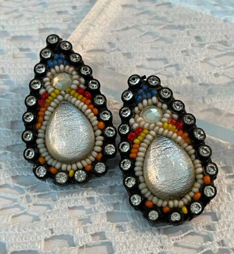 Vtg Designer Rhinestone Clip Earrings Signed Hansen 81 Glass Cabochon 1 of kind
